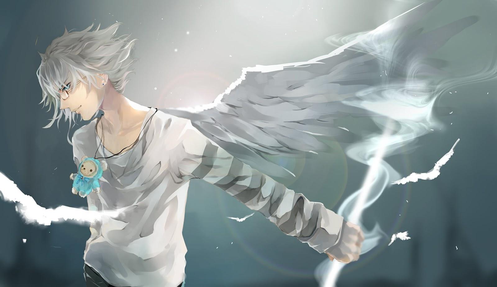 Hình ảnh nam lạnh lùng anime cánh chim trắng