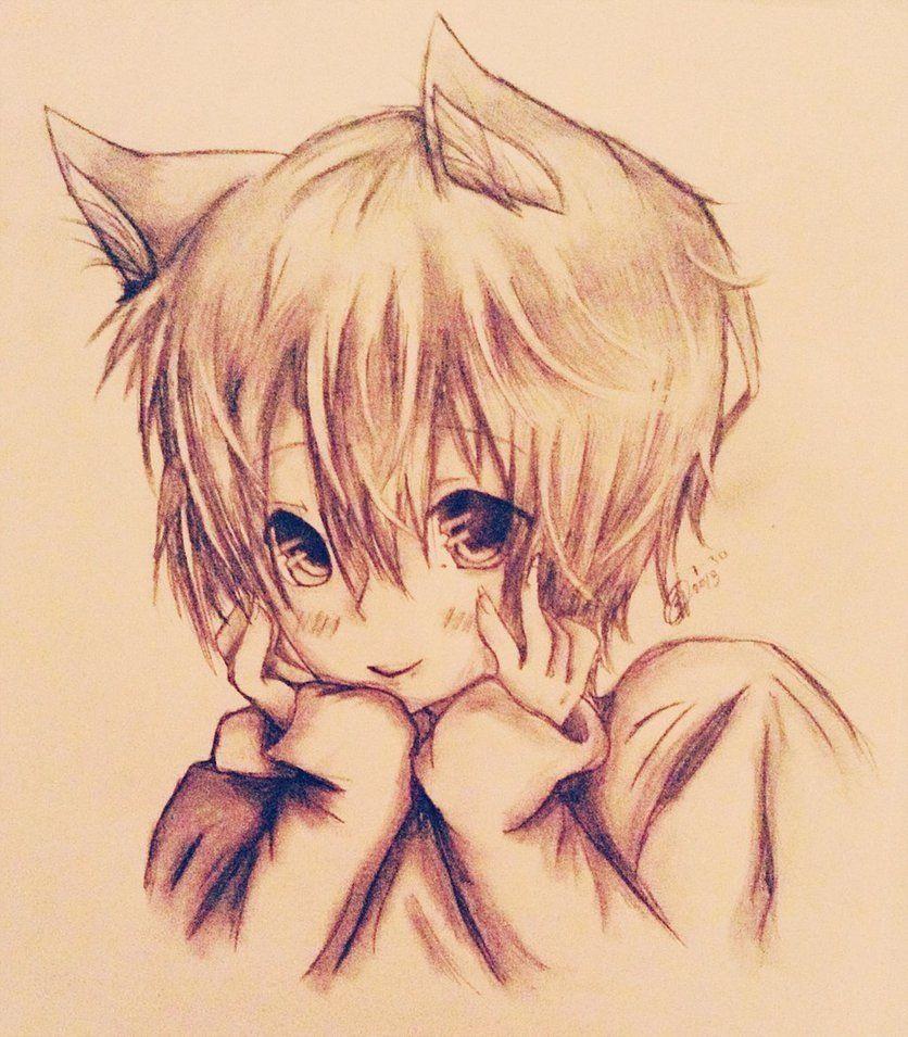 Hình ảnh vẽ mèo anime xinh đẹp