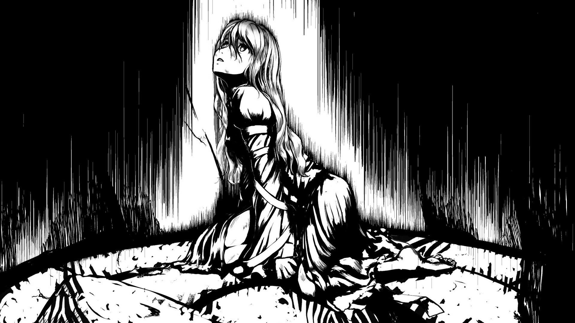 Hình nền anime cực đẹp màu đen trắng