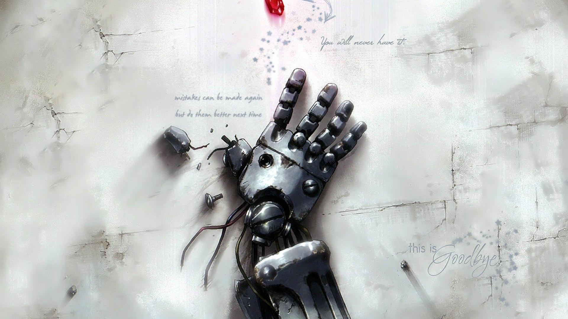 Hình nền anime đen trắng bàn tay người máy