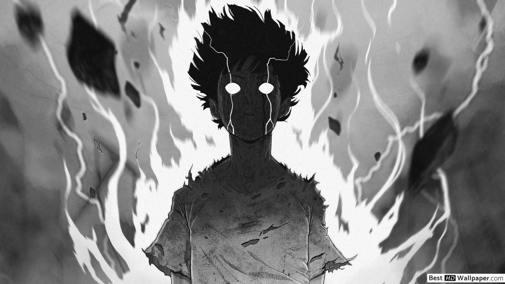 Hình nền anime đen trắng chàng trai có sức mạnh