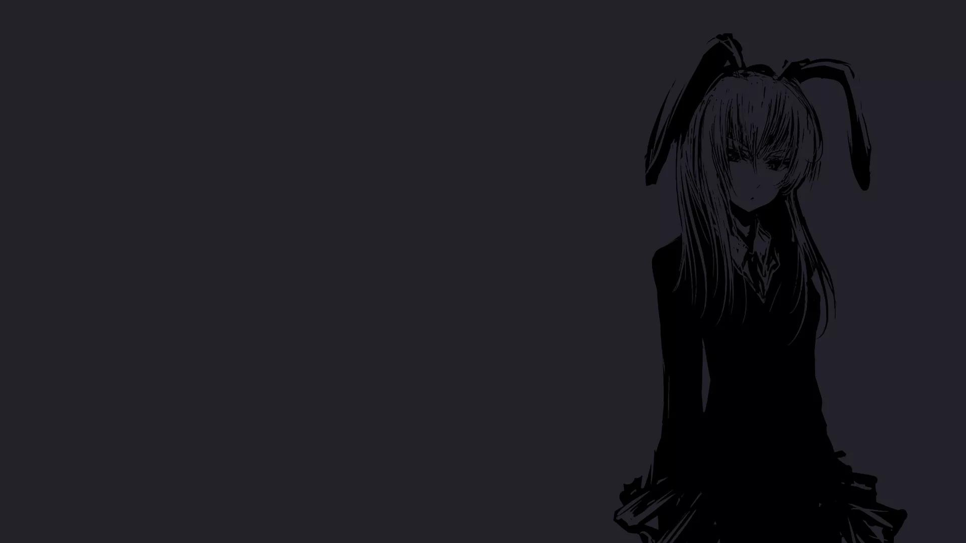 Hình nền anime đen tráng cô gái tai thỏ