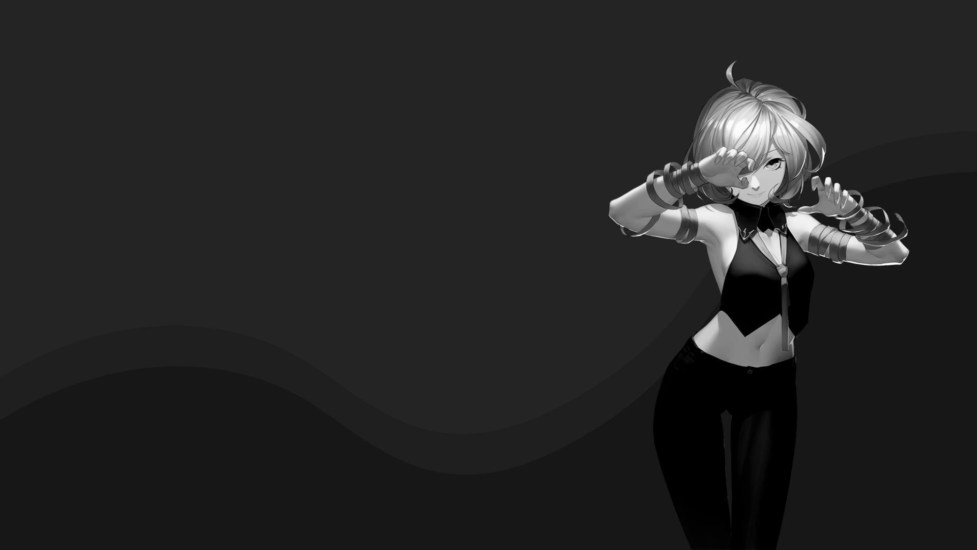 Hình nền anime đen trắng cô gái xinh đẹp