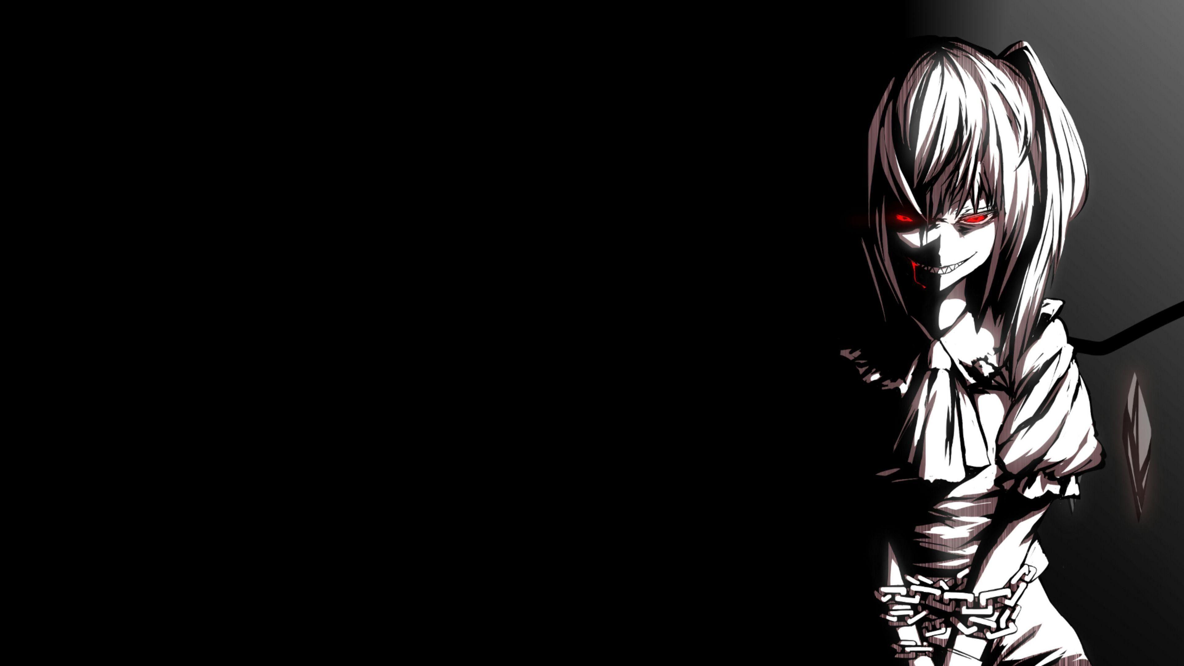 Hình nền anime đen trắng cô nàng mắt đỏ