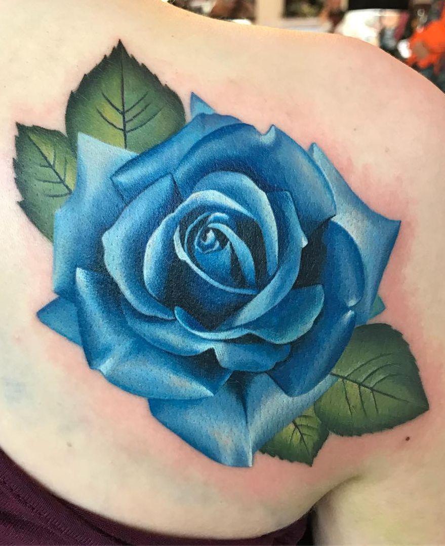HÌnh xăm hoa hồng xanh