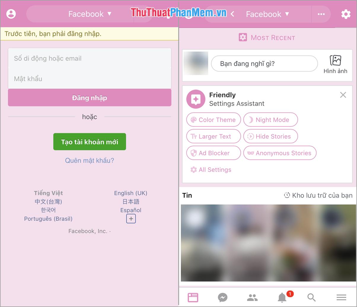 Tiến hành đăng nhập tài khoản Facebook của bạn
