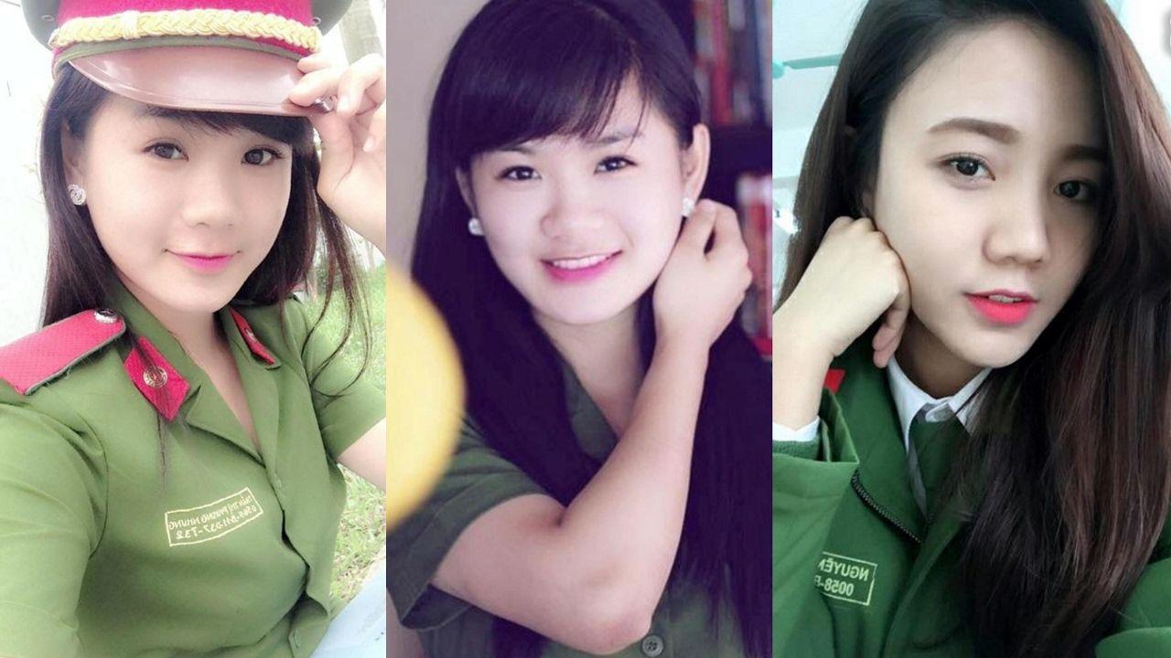 Hình ảnh ba nữ công anh rất xinh đẹp