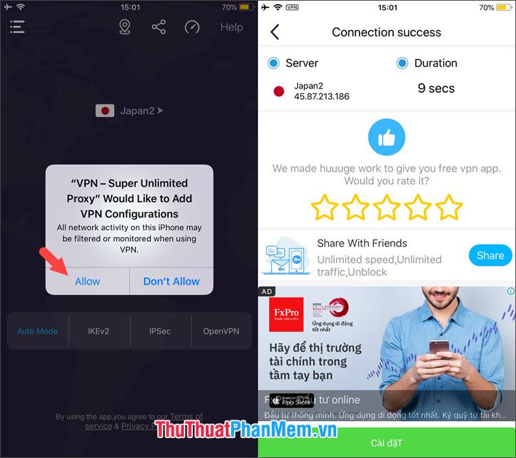 Chọn Allow để thêm cấu hình VPN mới cho iPhone