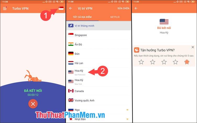 Chọn biểu tượng quốc kỳ rồi chọn quốc gia để fake IP