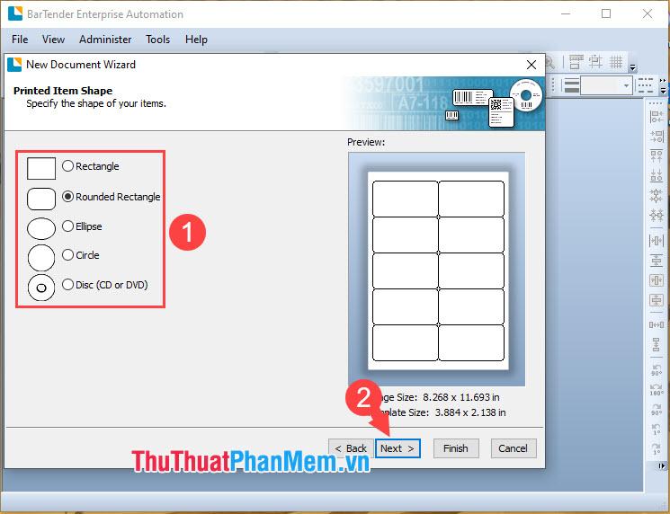 Chọn hình dáng viền kẻ cho mẫu tem mã vạch