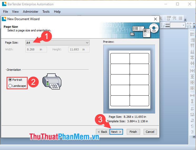 Chọn Page Size là A4 và chọn kiểu in ngang hoặc in dọc trong Orientation