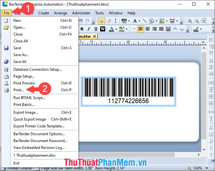 Chọn Print để in mã vạch hoặc bạn có thể dùng tổ hợp phím tắt Ctrl + P