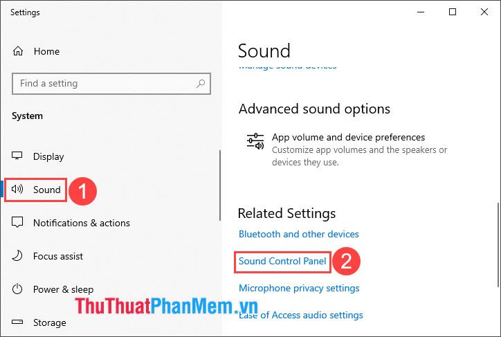 Chọn Sound Control Panel