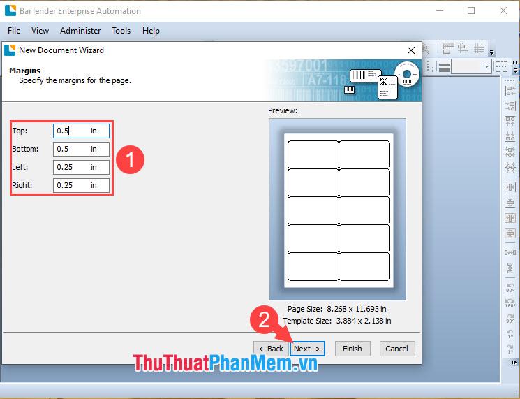 Thiết lập các thông số in cho mã vạch với đơn vị là Inch