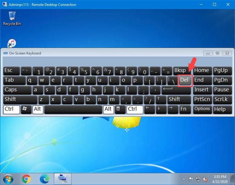 Sử dụng tổ hợp phím Ctrl + Alt trên bàn phím thật kết hợp với click chuột vào phím Del ở bàn phím ảo