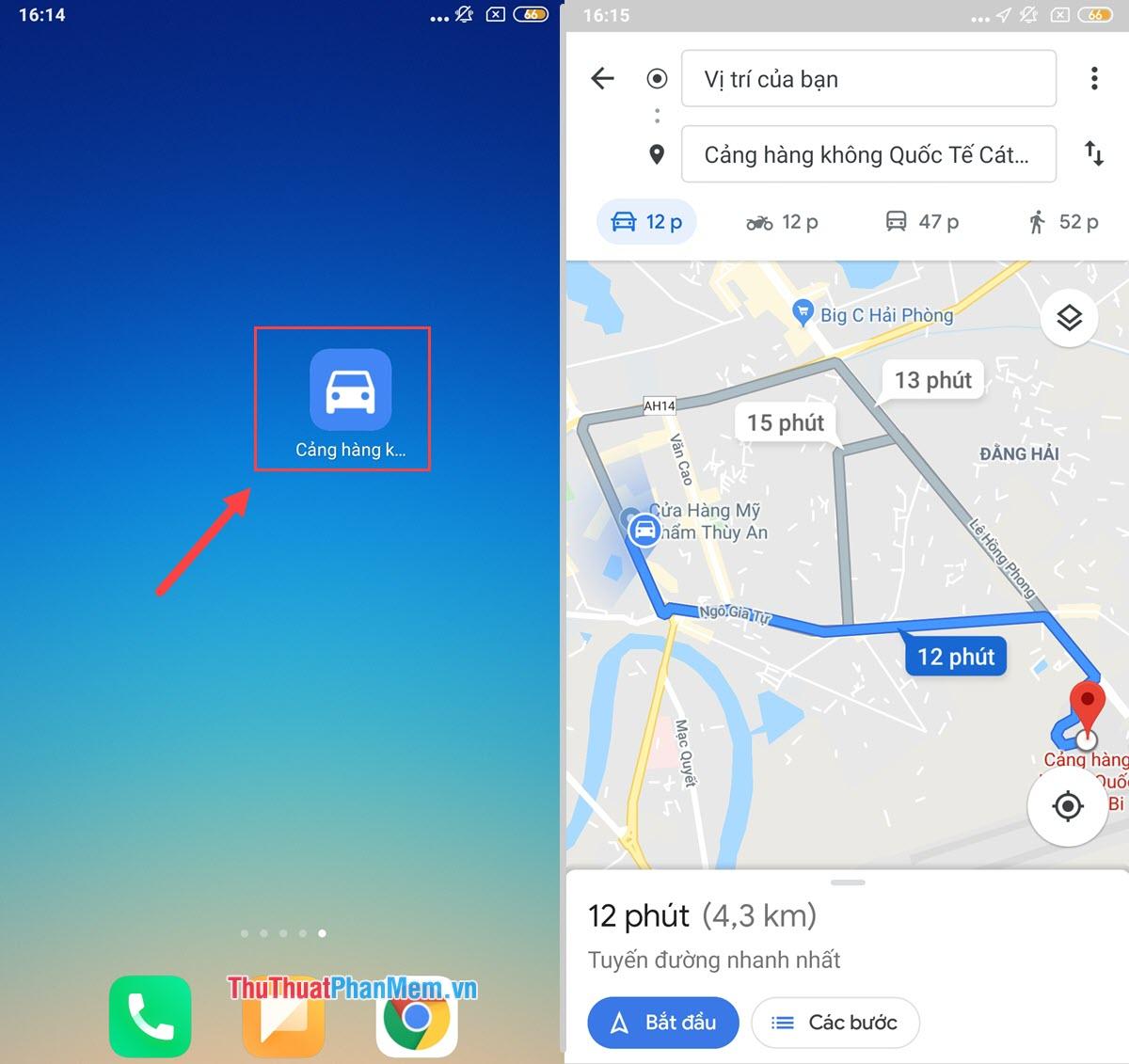 Bạn có thể nhấn vào biểu tượng chỉ đường để sử dụng Google khi không có kết nối Internet