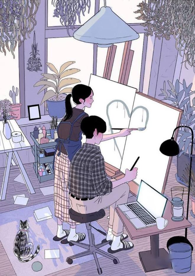 Hình ảnh dễ thương hoạt hình tình yêu