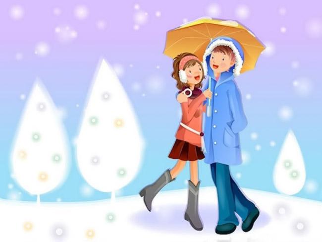Hình ảnh hoạt hình tình yêu mùa đông
