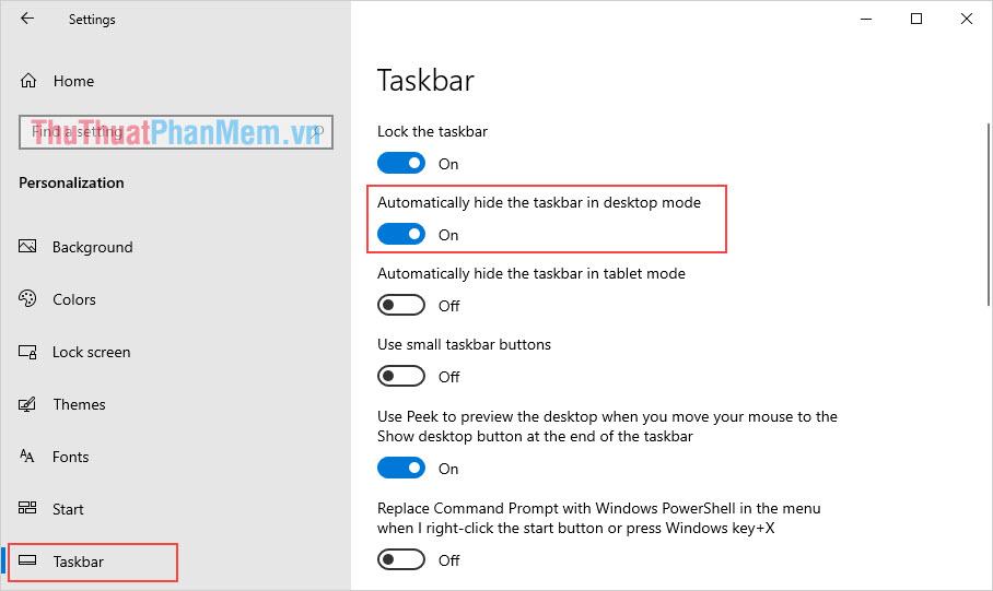 Kích hoạt tính năng Automatically hide the taskbar in the desktop mode