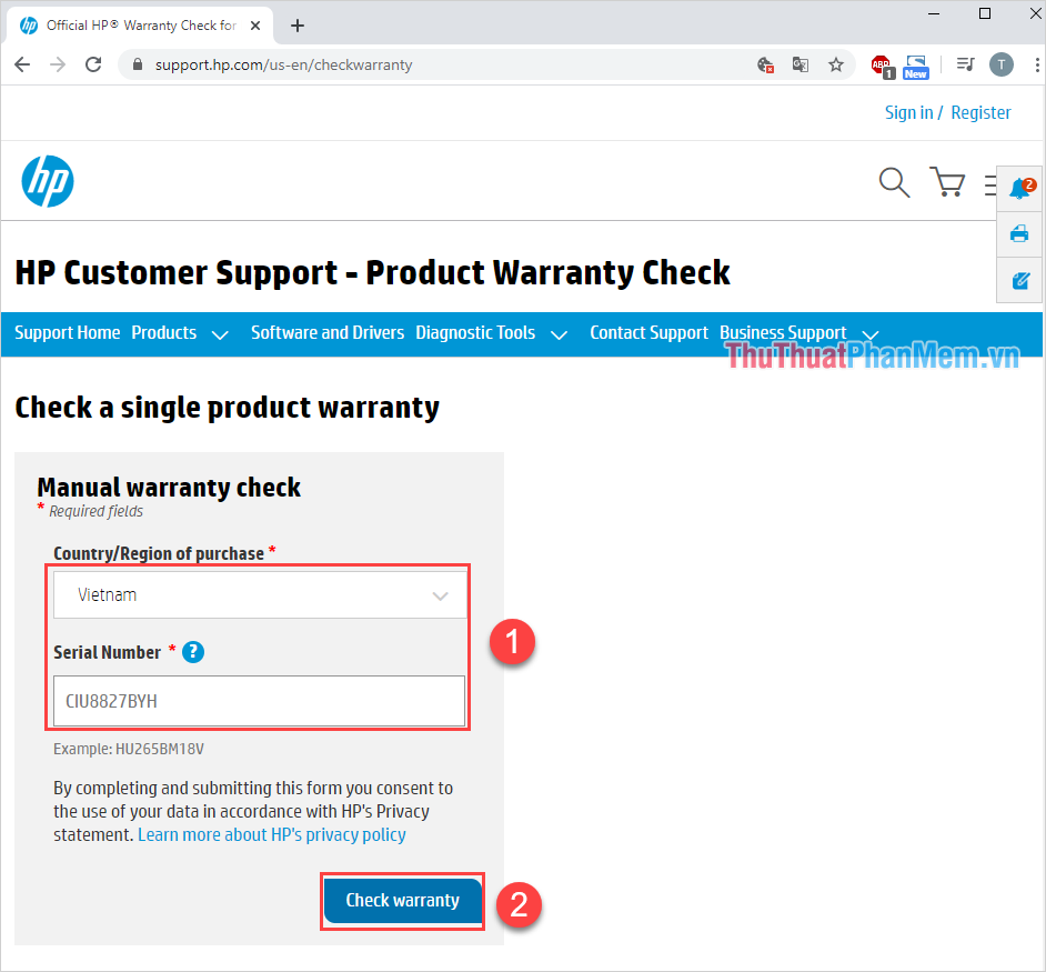Nhấn Check Warranty để kiểm tra