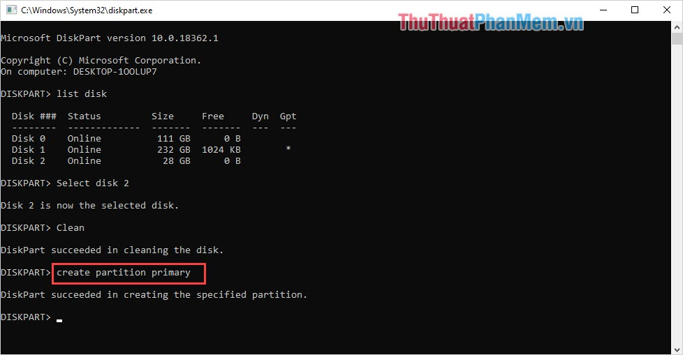 Nhập lệnh Create partition primary