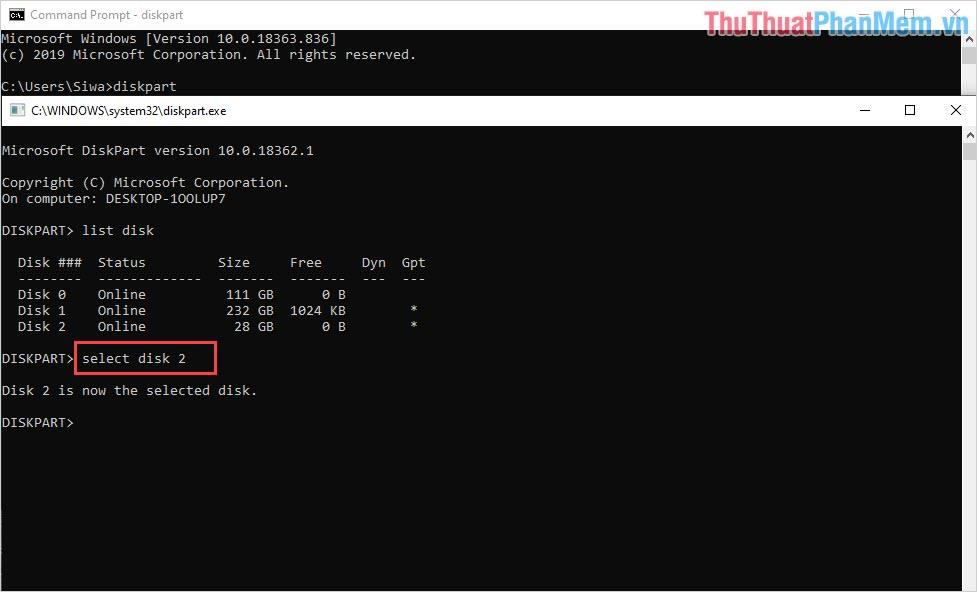 Nhập lệnh select disk # với # là thứ tự của USB trong danh sách