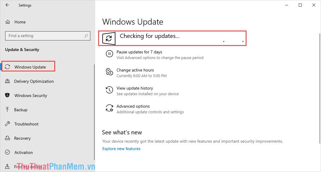 Chọn Check updates để kiểm tra cập nhật