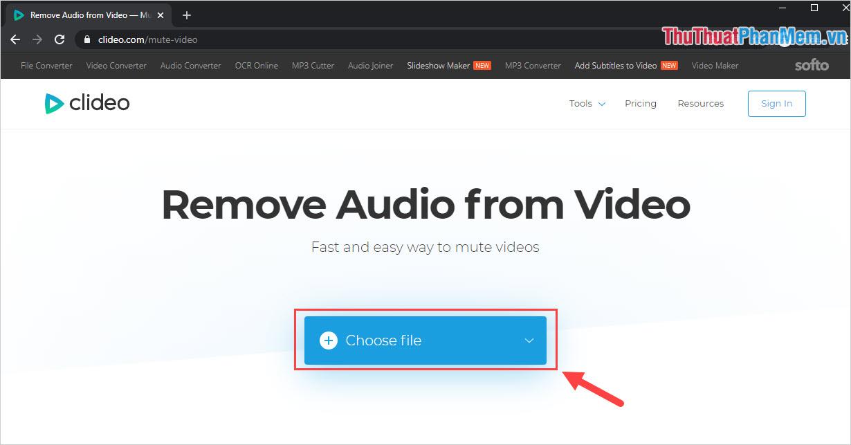 Chọn Choose File để tải file Video cần xoá âm thanh lên trên hệ thống