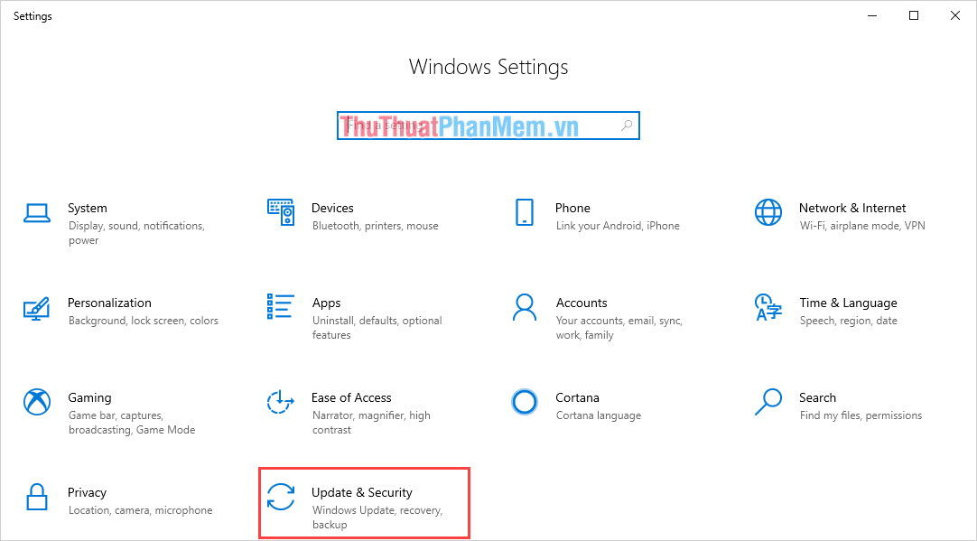 Chọn mục Update & Security để kiểm tra cập nhật và cài đặt