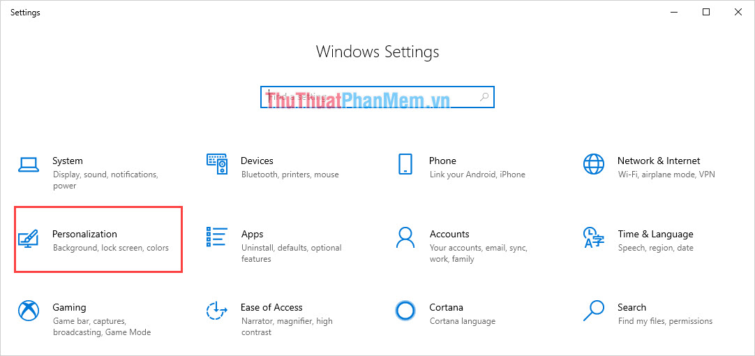 Chọn Personalization để thiết lập giao diện