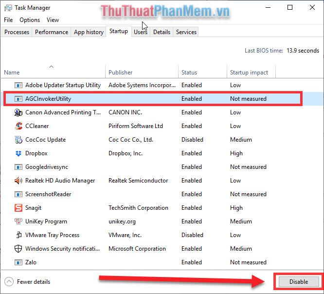 Chọn phần mềm không cần thiết khởi động cùng với Windows và chọn Disable