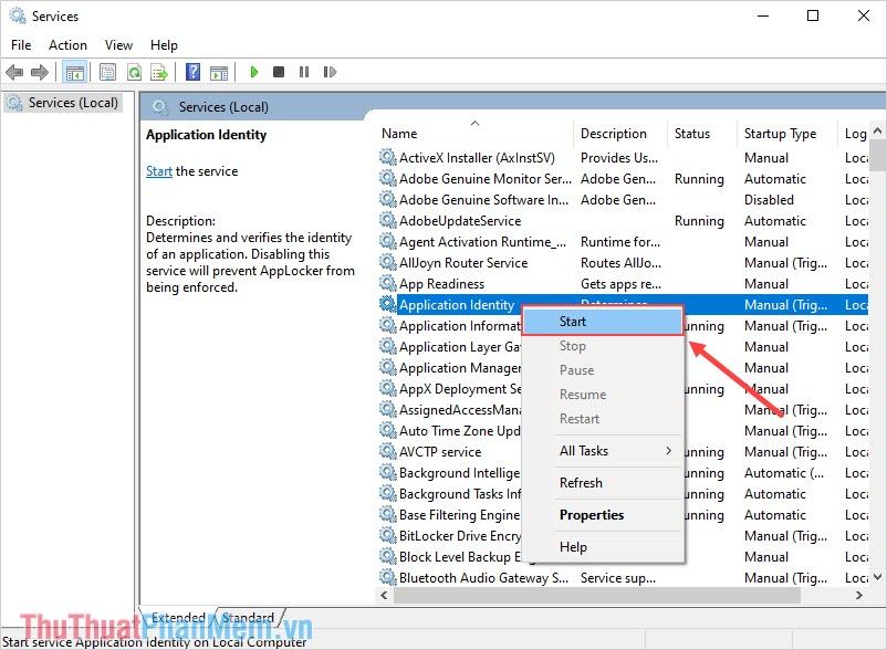 Tìm đến mục Application Identity và nhấn Start để khởi động lại dịch vụ của Windows