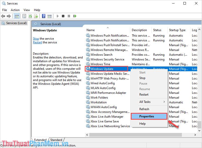 Tìm đến Windows Update và Click chuột phải chọn Properties
