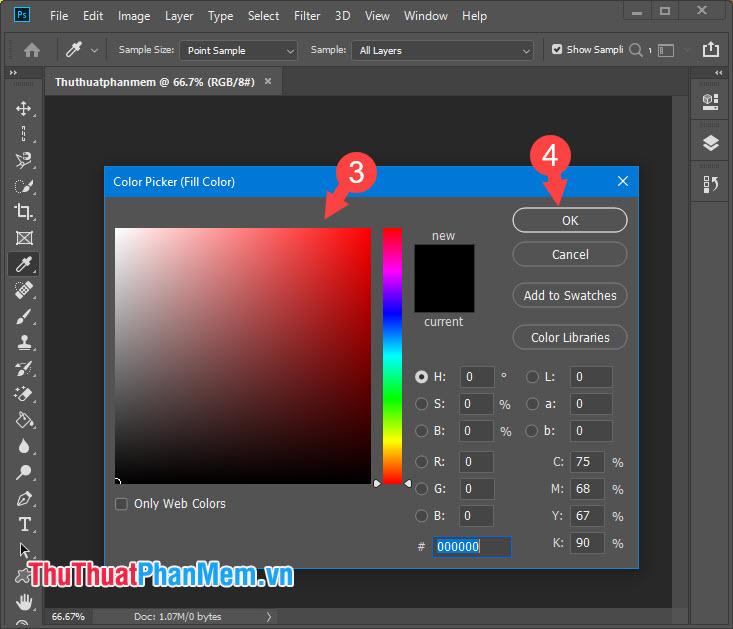 Chọn màu sắc cho viền bảng