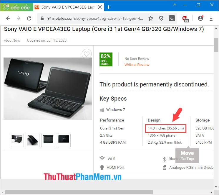 Chúng ta có thể tìm thấy kích cỡ của màn hình chiếc laptop hiện tại