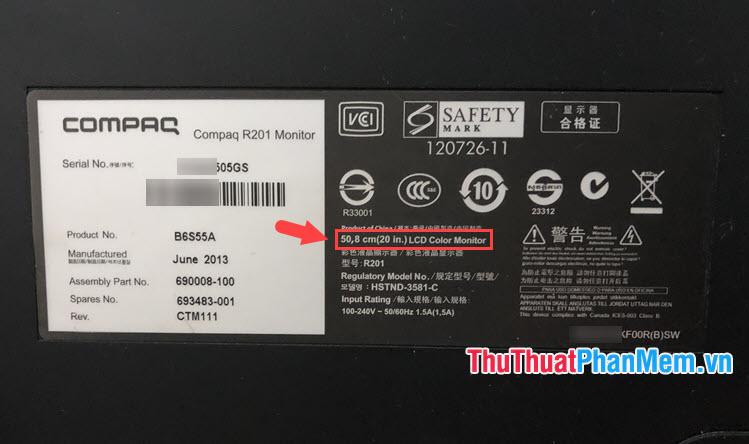 Mẫu tem của màn hình Compaq với model Compaq R201 Monitor
