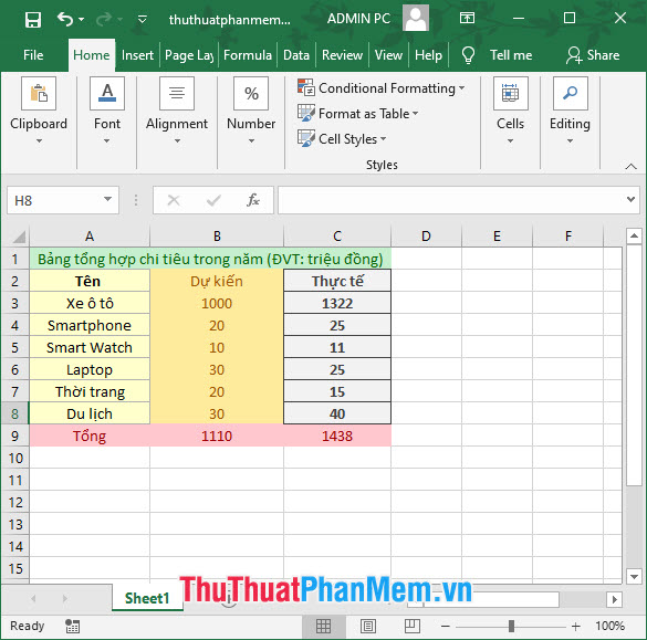Tạo bảng bất kì trong Excel