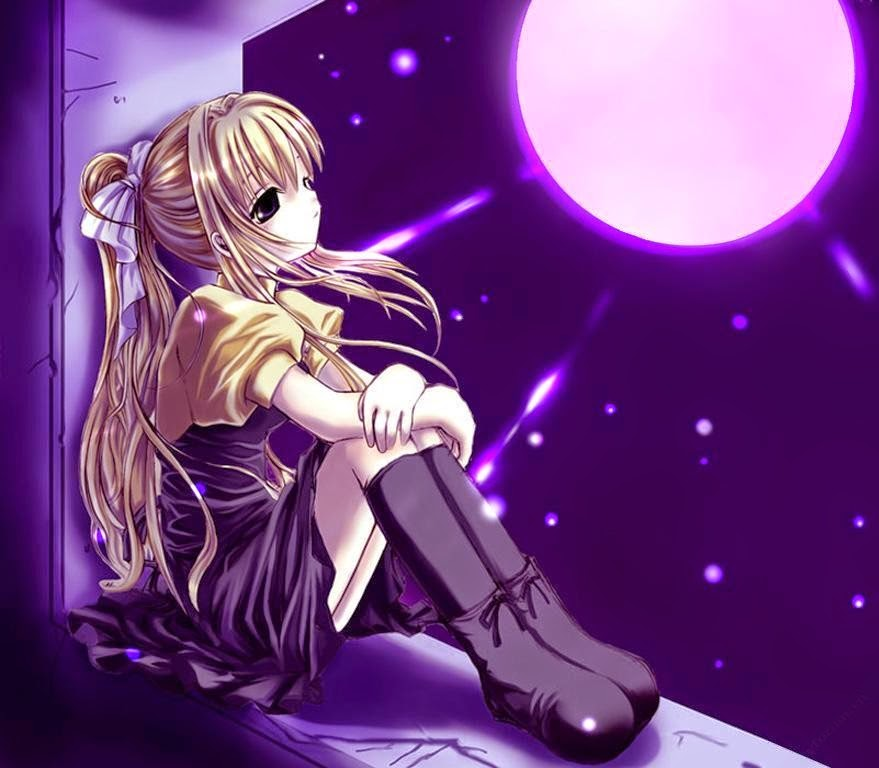 Ảnh anime girl buồn bên cửa sổ