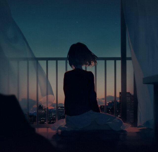 Hình ảnh anime cô đơn nữ