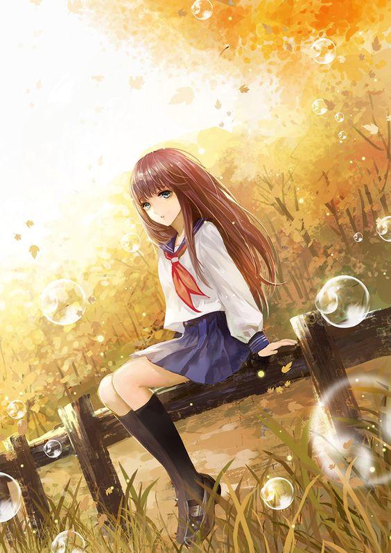 Hình ảnh anime girl cô đơn và chán