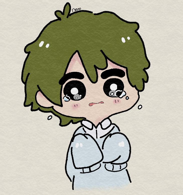 Hình ảnh chibi boi buồn khóc
