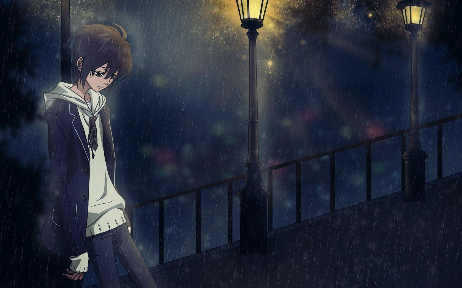 Hình anime boy cô đơn buồn