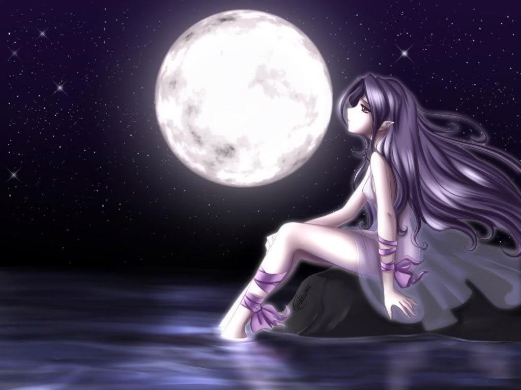 Hình anime buồn ngắm trăng
