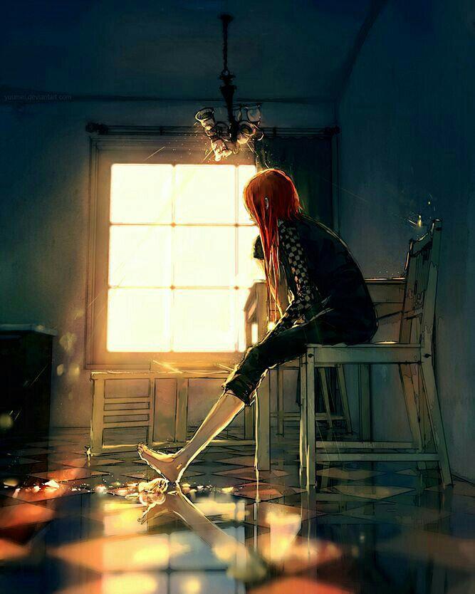 Hình anime girl cô đơn một mình
