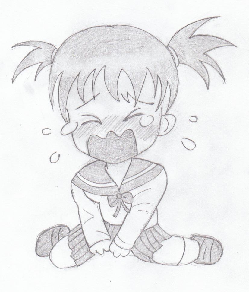 Hình vẽ anime chibi buồn khóc