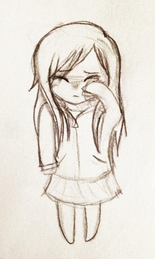 Hình vẽ chibi buồn khóc