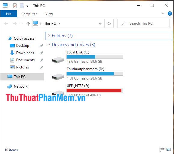 Mở This PC và kiểm tra kết quả