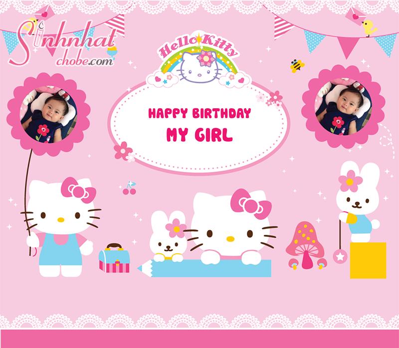 Phông nền sinh nhật hello kitty