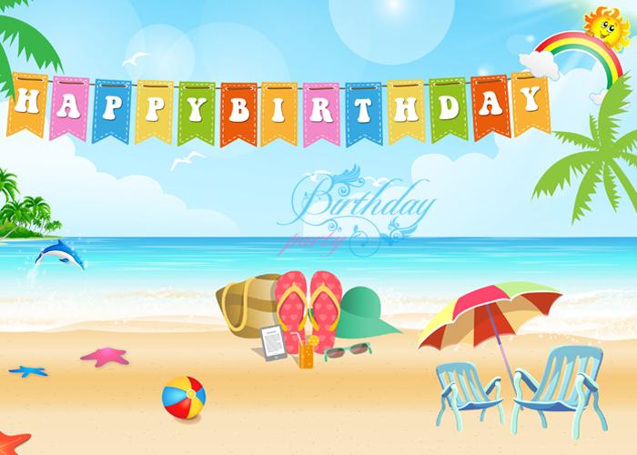 Phông nền sinh nhật ở bãi biển