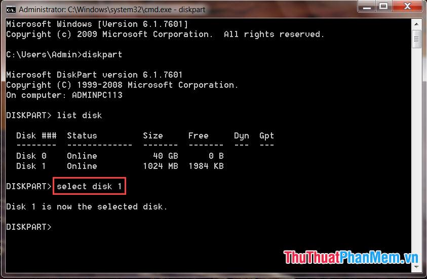 Nhập lệnh select disk n